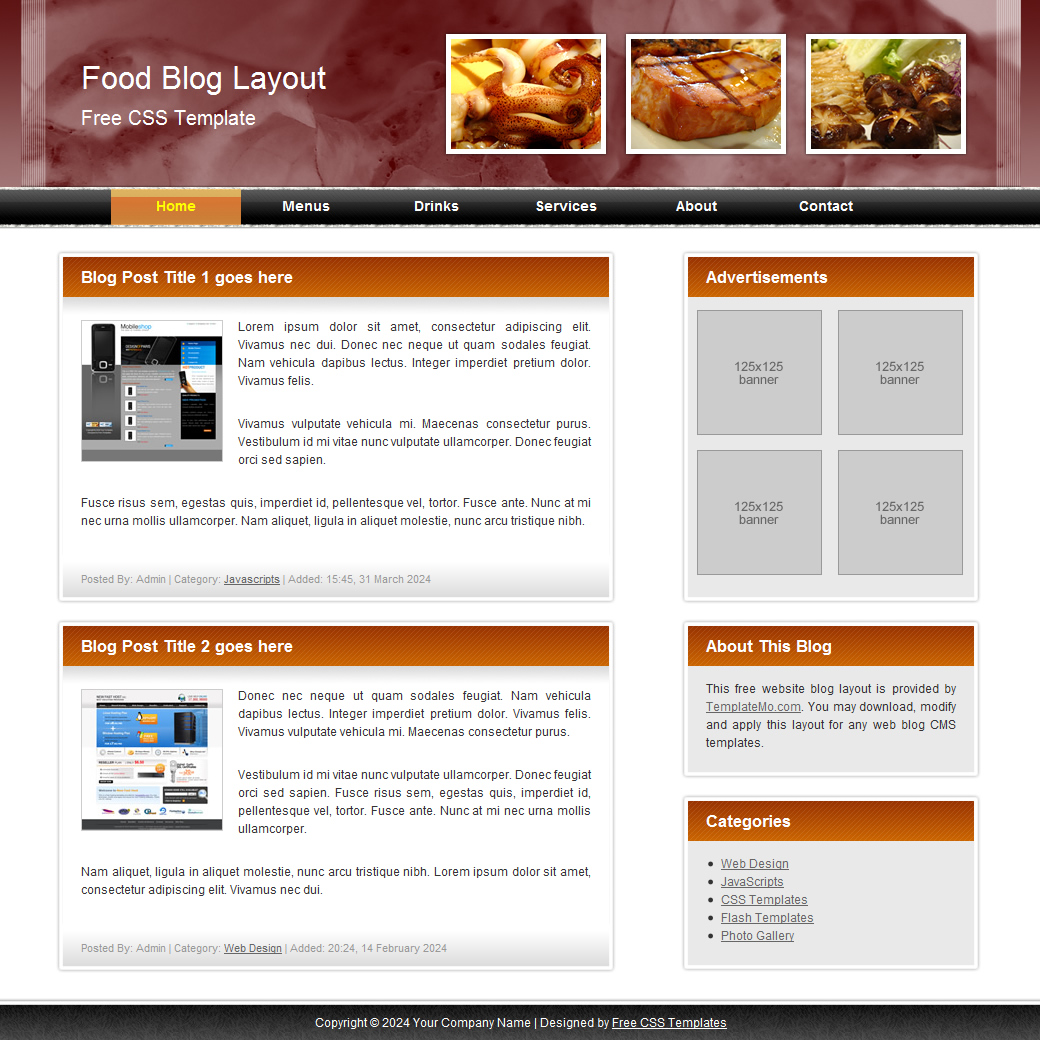 Blog: 072 Food Blog Template