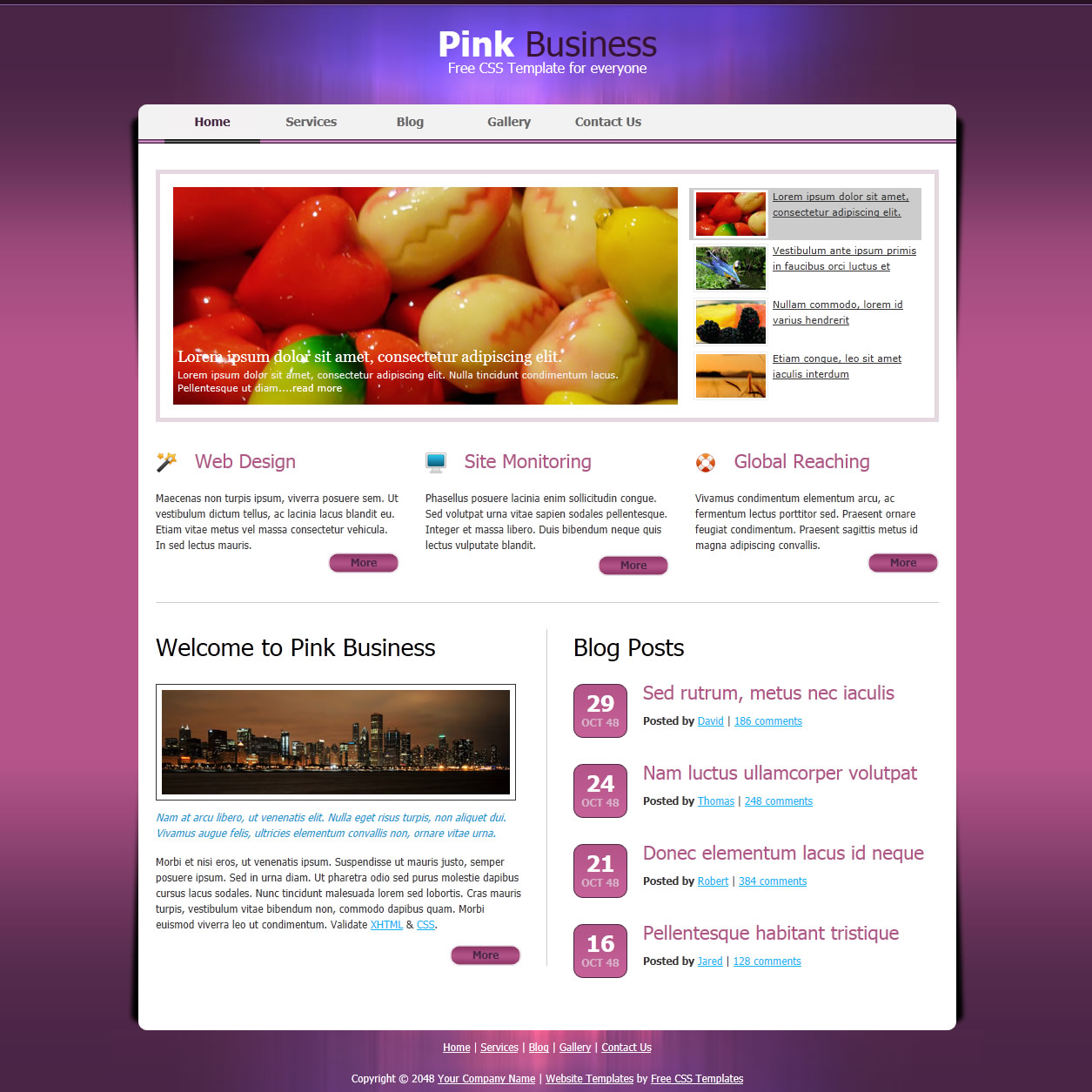 pink website templates