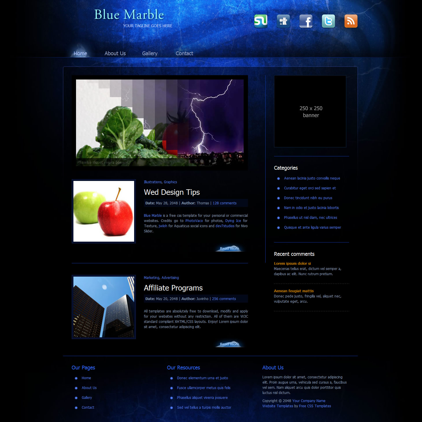 Black website templates templatemo316bluemarbleg friedricerecipe Image collections
