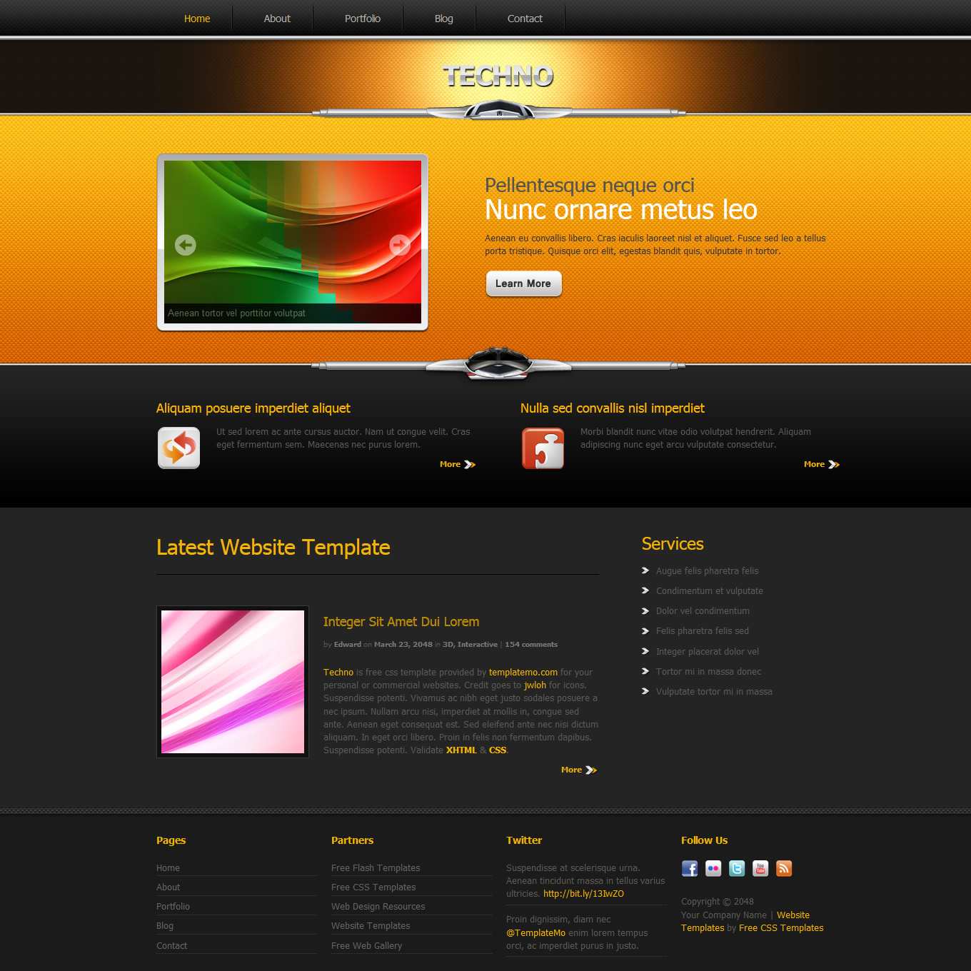 Orange website templates pronofoot35fo Images