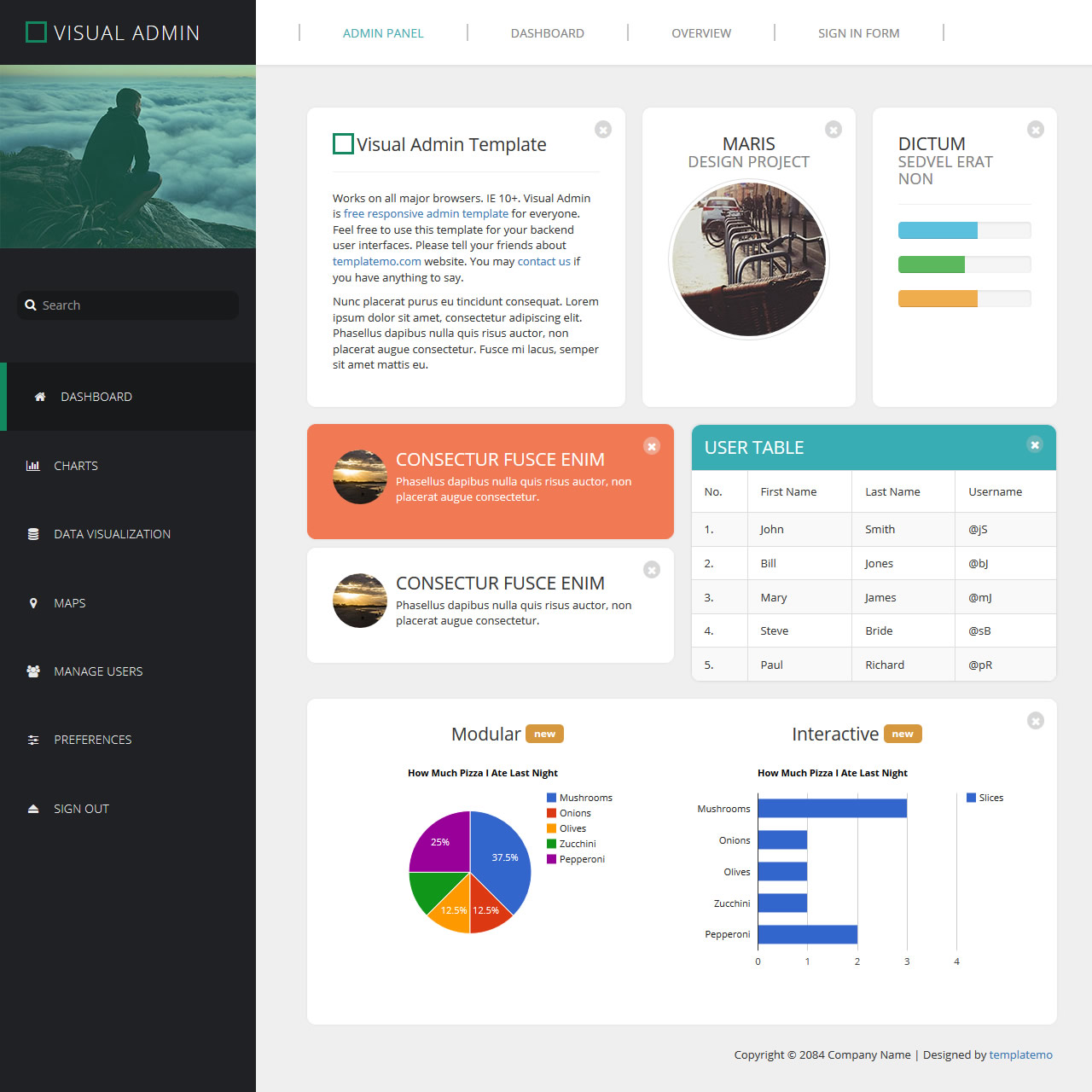 admin website templates